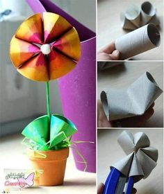 Toilet paper tube flower
