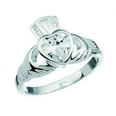 Sterling Silver and Cubic Zirconia Claddagh Ring €30