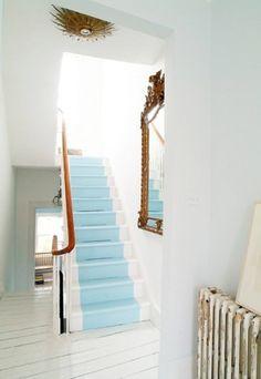 Robin's egg blue stair runner