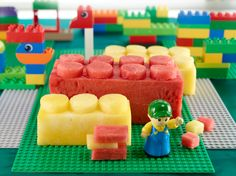 Red and yellow watermelon LEGO snacks