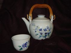 Hand Painted Porcelain Teapot and Cup by bluemistpottery on Etsy, $60.00