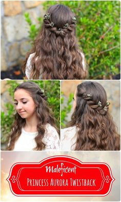 Princess Aurora Twistback {Inspired by Disney's #Maleficent}. Post includes video tutorial, written instructions, and more photos... #PrincessAurora #Disney #SleepingBeauty #hairstyles #hairstyles #hairstyle #maleficent  #twists #cutegirlshairstyles #aurora