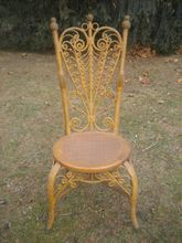 Rare Heart Back Ornate Natural Victorian Wicker Reception Chair Circa 1890's