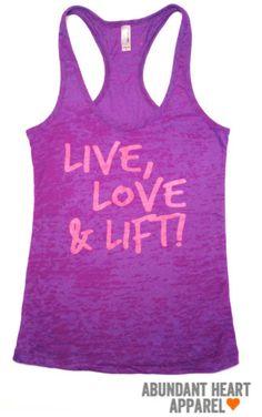 """Live Love Lift"" Purple and Pink Women's Workout Top $26 via AbundantHeartApparel on Etsy"