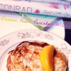 Banana Chia Peach Pancakes! Only 4 Ingredients.