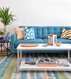 teal sectional sofa from @apt2b