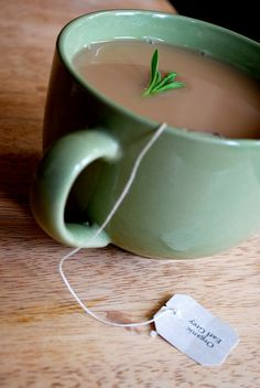 Earl grey tea with almond milk and lavender.