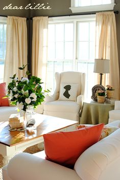 Dear Lillie Living Room - similar color combination - orange and green