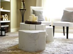 Painted Tree Stump Coffee Table {Coffee & Side Tables} #DIY