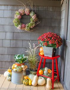 Fall decorating our back door