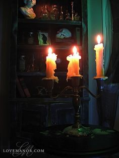 Candlelabra cabinets, halloween decorations, halloween idea, haunted houses, candelabra, candles, book, potion cabinet, candl light