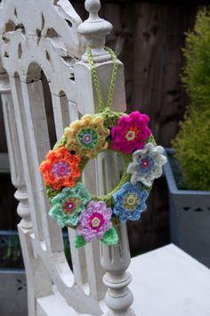 Easter crochet flower wreath
