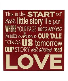 Loving this Red & Cream 'Our Story' Wall Art on #zulily! #zulilyfinds