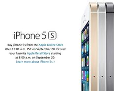 Online Orders for iPhone 5s Begin at 12:01 AM Pacific Time on Friday, September 20