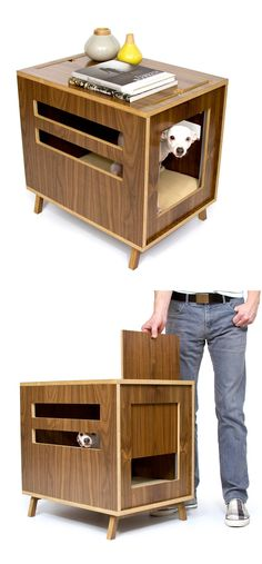 Modern pet bed with removable door