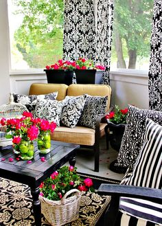 back porch decorating, color, beautiful porches, patio garden room, monogram mason, beauti space, back porches, mason jars, cozi room