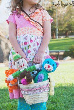 """Scrappy Crochet Amigurumi Cat Tabby Pink Blue Yellow by pigswife, $28.00"" #Amigurumi  #crochet"