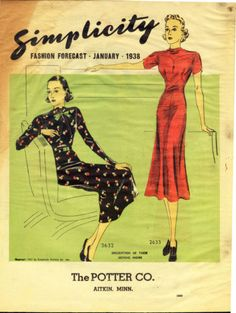 Simplicity Fashion Forecast, January 1938 - Pattern Catalogue featuring Simplicity 2632 and 2633