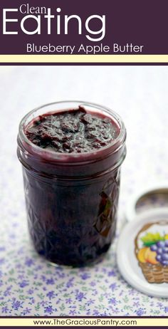 Clean Eating Blueberry Apple Butter. A delicious way to use up the last of the season's blueberries! #cleaneating