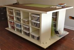 This would be ideal in my dream sewing room. Ikea Hackers instructions for this quilter's table with storage.