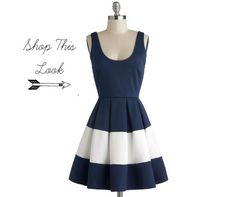 Navy Blue White Stripe Bridesmaid Dress