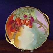 Antique Bavaria Handpainted Cake Plate with Cherries