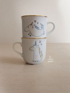 1 Cup gold trim Unicorn both sides by Sobigraphie on Etsy,