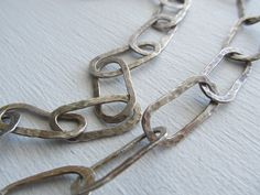 Hand forged large link artisan chain necklace in sterling silver by JoDeneMoneuseJewelry