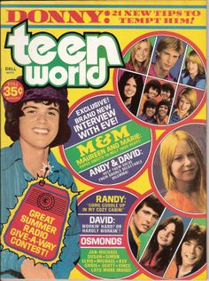 Teen World Magazine August 1974 Donny Osmond David Cassidy Marie