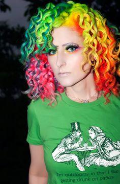 gorgeous rainbow hair with curls