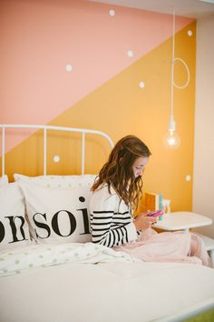 Colorful bedroom for her | Photography: Yazy Jo - yazyjo.com  Read More: http://www.stylemepretty.com/living/2014/09/22/la-la-lovely-home-tour/