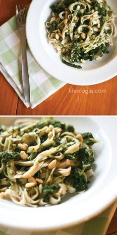 rice linguini with kale spinach pesto