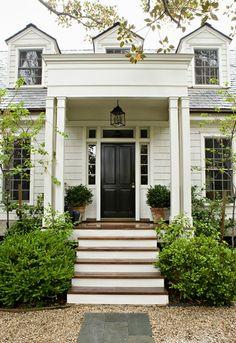interior design, white houses, black doors, door design, exterior