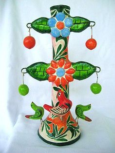 Colorful Mexican Pottery Tree of Life Candle Holder