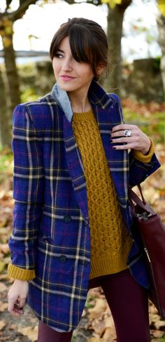 We love this look top to bottom: the blue plaid blazer over the mustard knit sweater look fabulous with leather & burgundy! Style tip: mix up your fall style by wearing contrasting autumn hues and patterns.