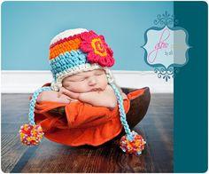 Teal and Orange Newborn Crochet Hat Ear Flap Hats