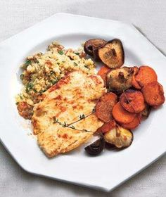 Yogurt-Marinated Chicken With Mushrooms and Sweet Potatoes from realsimple.com #myplate #protein #vegetables