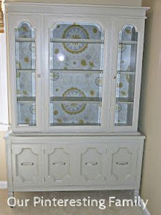 painted china cabinet wallpaper back project, kitchen furniture, painted kitchens, china cabinets, famili, paint furnitur, furnitur idea, refurbish furnitur, diy