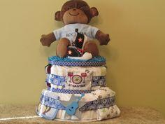 Rockstar Monkey Diaper Cake  Ship Ready by CaringCakes on Etsy, $75.00
