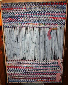 Weaving rag rugs.