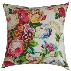 "This decor pillow lends a fresh and romantic garden-theme design with its blooming floral pattern. With spring-inspired colors like pink, purple, blue, yellow, red, green and white, this throw pillow creates a soothing effect. You can make this 18"" pillow the highlight piece in your living room, bedroom or lounge area. This square pillow provides comfort with its 100% high-quality cotton fabric. $55.00  #floralprint #floral #tosspillow #pillows"