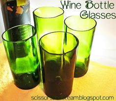 Glasses out of old wine bottles.