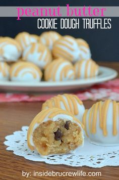 Peanut Butter Cookie Dough Truffles - easy no bake peanut butter cookie dough dipped in white chocolate