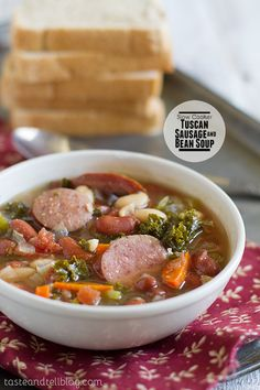 Slow Cooker Tuscan Sausage and Bean Soup | Taste and Tell
