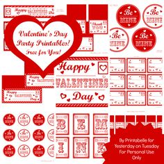 FREE Mega Set: Valentine's Day Party Printables #valentinesday #valentines #valentinesdayparty #freevalentines #yesterdayontuesday