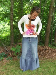 Long Jean Skirt By Custom Order by WhimsicalJeansnSuch on Etsy, $40.00