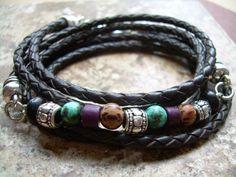 Triple Wrap Braided Leather and Gemstone by UrbanSurvivalGearUSA, $32.99