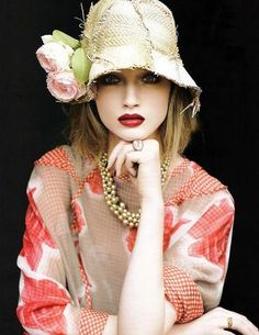 Straw Hat, Red Lips.