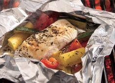 Grilled Lemon Pepper Halibut and Squash Packs Recipe