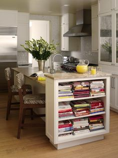 Bookshelf in the kitchen island.